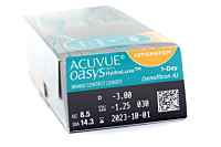 Acuvue Oasys 1 Day for Astigmatism Contact Lenses - prescription box view