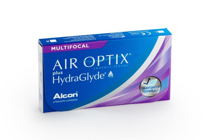 Air Optix plus HydraGlyde Multifocal Contact Lenses - front of the box