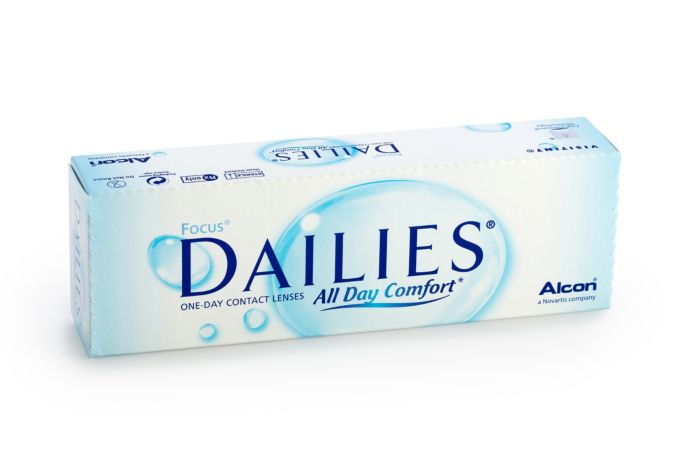 Focus Dailies All Day Comfort Contact Lenses - front of box