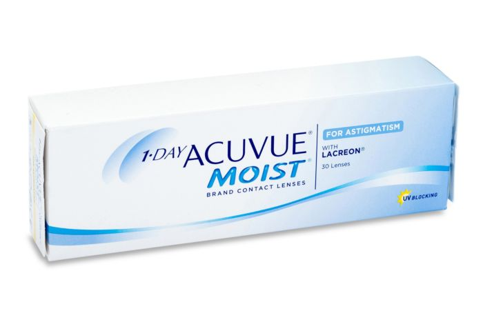 1 Day Acuvue Moist for Astigmatism Contact Lenses - front of the box