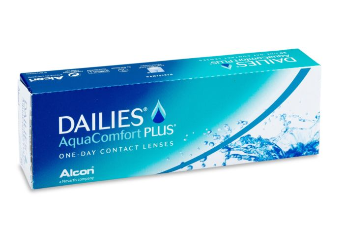 Dailies Aqua Comfort Plus Contact Lenses - front of the box
