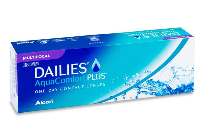 Dailies Aqua Comfort Plus Multifocal Contact Lenses - front of the box